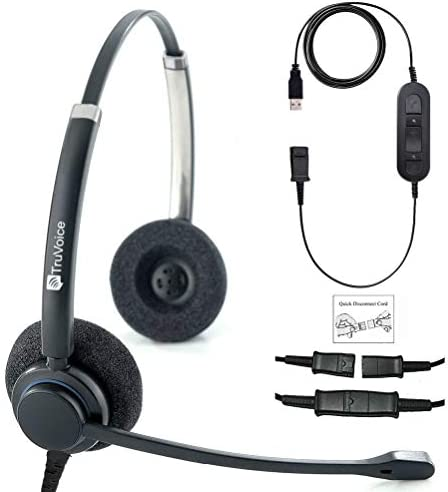 [해외]TruVoice HD-150 Professional Double Ear HeadsetNoise Canceling Mic and Detachable USB Bottom Cable Included (for USB Softphones Laptops and Computers) Skype Compatible / TruVoice HD-150 Professional Double Ear HeadsetNoise Cancelin...