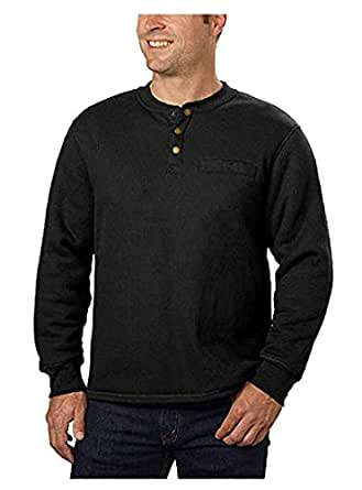 Stanley Men's Sherpa Lined Thermal Henley, Variety (M, Black)