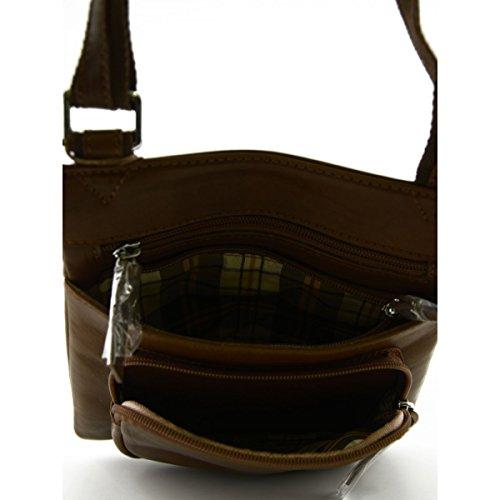 Borsello Uomo In Vera Pelle Con Tasche E Tracolla Regolabile Colore Marrone - Pelletteria Toscana Made In Italy - Borsa Uomo