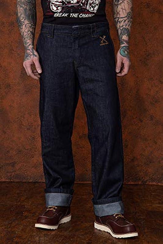 King Kerosin męskie spodnie treningowe w stylu vintage do garażu i prasowania, z efektem wycierania olejem: Odzież