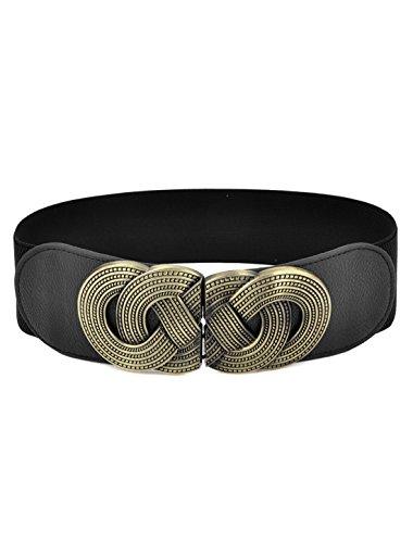 Knot Woven Metal Interlocking Buckle Elastic Waist Cinch Belt Band