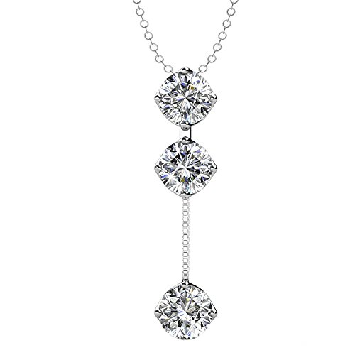 Cate & Chloe Sloane Hero 18k White Gold Pendant Necklace with Swarovski Crystals, Trendy Unique Sparkling Round Cut Diamond Necklace, Drop Dangling Pendant, Y Necklace, Silver - Necklace White 18k Drop Gold