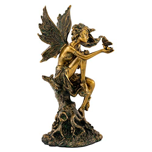 Top Collection Fairy Playing with Butterfly on Tree Stump Statue- Hand Painted Beautiful Magical Creature with Bronze Finish Look - 8-Inch Collectible Fantasy Figurine