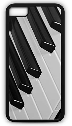 iPhone 8 Plus 8+ Case Piano Keyboard Keys White Black Play Sing Customizable by TYD Designs in Black Plastic Black Rubber Tough Case