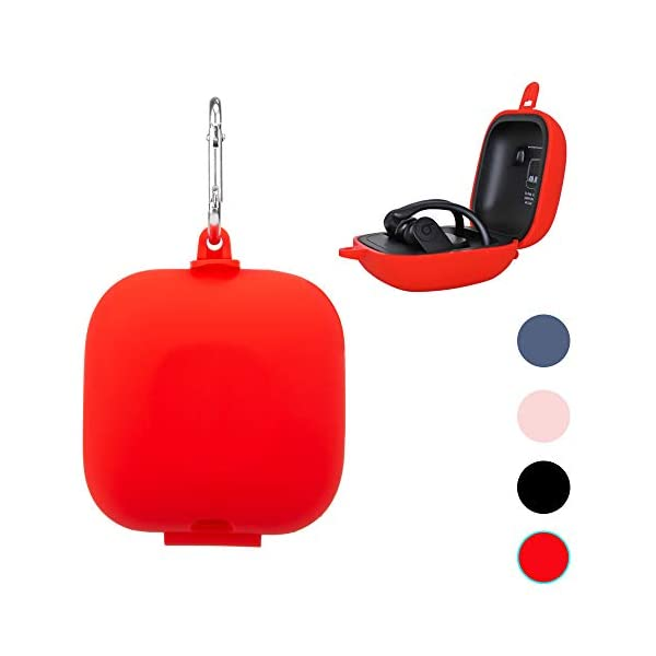 NEWZEROL Solid Color Silicone Case Replacement for Powerbeats Pro Full Body Soft and Flexible(with Hanging Buckle Version),Anti-Scratch,Shock Resistant Silicone Case[Full Body Protective Cover]-Red 1