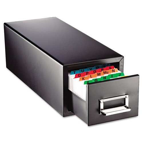 SteelMaster 263F5816SBLA Drawer Card Cabinet Holds 1,500 5 x 8 Cards, 9 7/16 x 16 x 7 1/2 by STEELMASTER