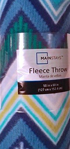 Mainstays Blue Graphic Chevron Fleece Throw Blanket 50 X 60