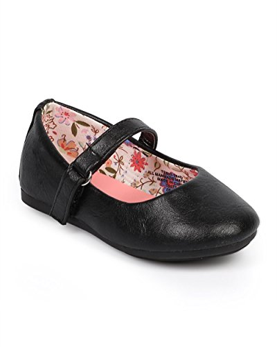 Girls Flat Classic (Little Angel DC39 Girl Leatherette Round Toe Classic Mary Jane Flat (Toddler/ Infant) - Black (Size: Toddler 6))