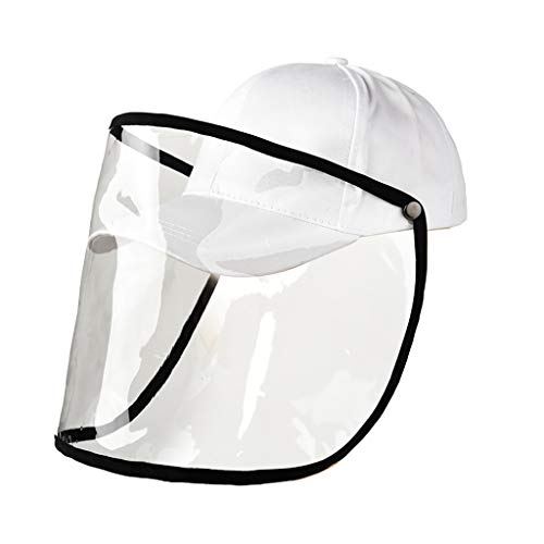 Windproof & Dustproof Safety Face Shield-Anti-Pollution Protective Facial Mask-Baseball Hat with Clear Hard Isolation layer to Prevent Droplets (white)