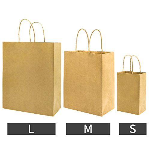 Bagmad Thicker Paper 50 Count 10x5x13, Large Kraft Paper Shopping Bags with Handles,Gift Natural Party Retail Craft Brown Bags,50PCS by Bagmad (Image #6)'