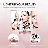 Easehold Vanity Makeup 2X 3X Magnifiers 21 LED Lights Tri-Fold 180 Degree Adjustable Countertop Cosmetic Bathroom Mirror, Rose Gold