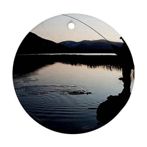 MYDply Fly Fishing Scenic Nature Photo Ornament round porcelain Christmas Great Gift Idea