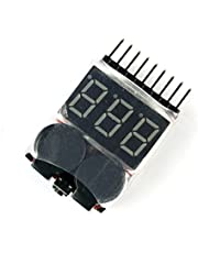 QWinOut Lipo Battery Voltage Tester Volt Meter Indicator Checker Dual Speaker 1S-8S Low Voltage Buzzer Alarm 2in1 2S 3S 4S 8S