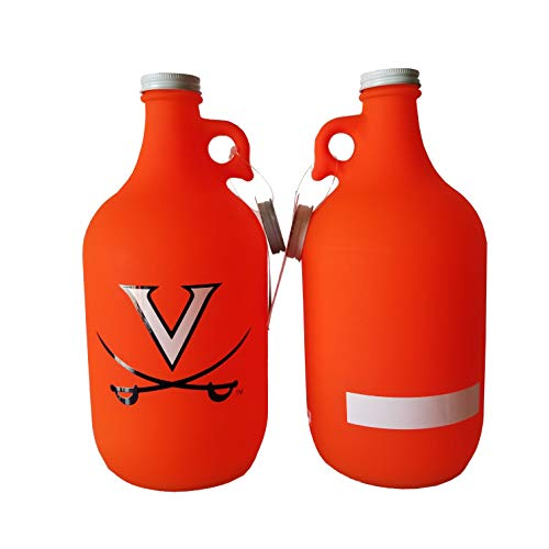 NCAA Collegiate 64 oz Glass Jug Growler Frost/Matte Finish with Optional Coin Bank Slotted Lid (Virginia Cavaliers)