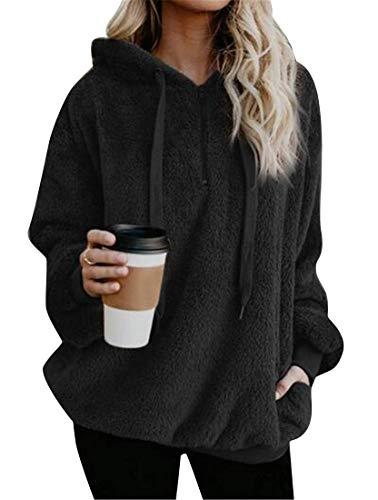 del con sudadera sintética de Hoode tamaño US XL de grande piel extra de de la las de capucha la sólido tamaño Color sudadera con sólido mujeres Haokan capucha Abrigo Negro E8AOqxaH