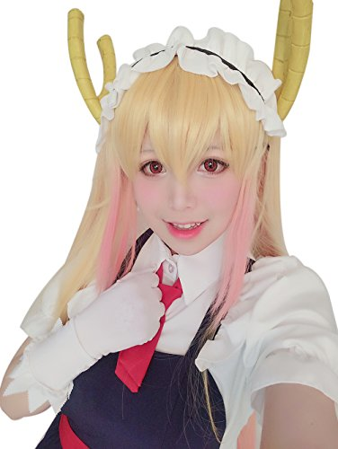 ROLECOS Womens Kobayashi-san Cosplay Wigs Long Clip on Ponytails Hair Wig Blonde Fade Pink