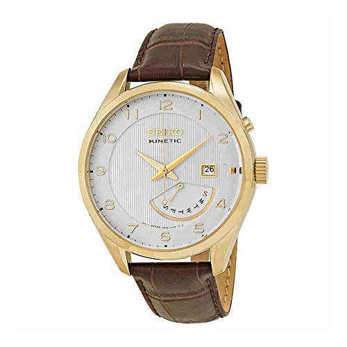 Case Gold Tone Band - Seiko Men's SRN052 Stainless Steel Watch with Leather Band