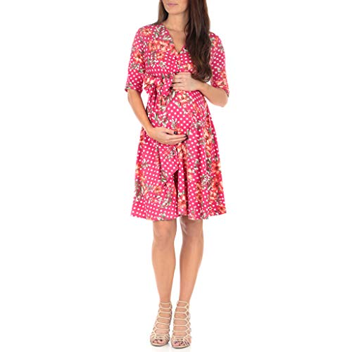 Mother Bee Women's Knee Length Wrap Dress with Belt - Made in USA Floral Polkadot Fuschia Small