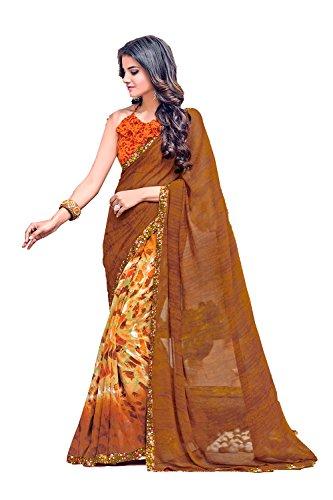 Da Facioun Indian Sarees For Women Wedding Designer Party Wear Traditional Sari. Da Facioun Saris Indiens Pour Les Femmes Portent Partie Concepteur De Mariage Sari Traditionnel. Brown 13 Brun 13