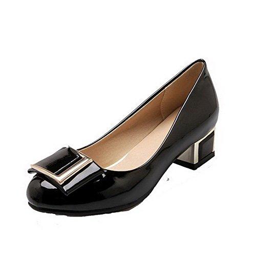 Damen Ziehen auf Rund Zehe Niedriger PU Leder Rein Pumps Schuhe, Grau, 36 VogueZone009