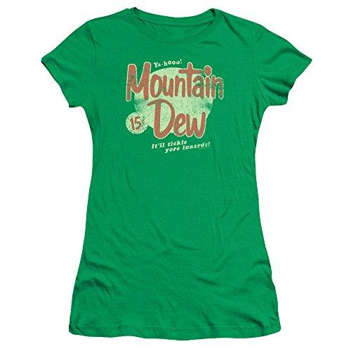 Mountain Dew Retro Logo Women's Sheer Fitted T Shirt Kelly Green