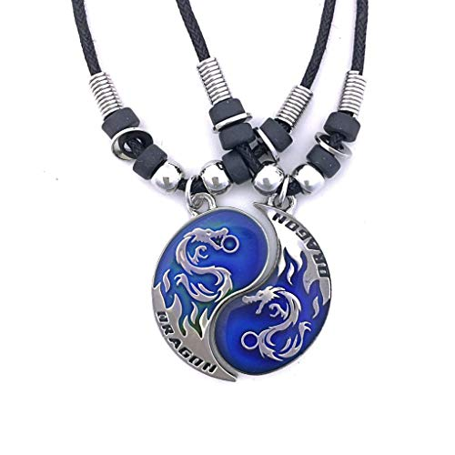 Tapp CollectionsTM Dragon Yin Yang 2 Mood Pendant Necklaces Set