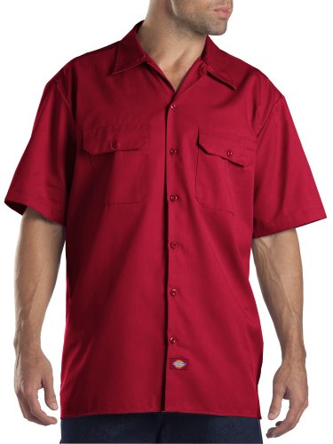 Dickies Men's Short-Sleeve Work Shirt, English Red, X-Large (Short Sleeve Twill Shirt)