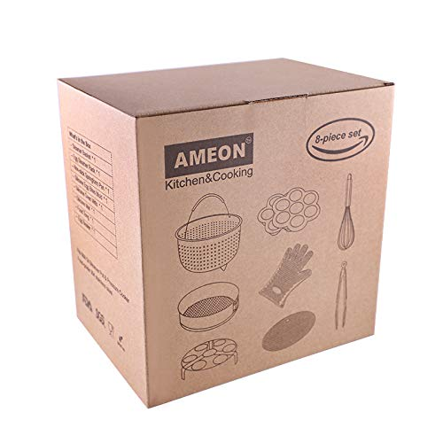 AMEON Accessories for Instant Pot 6, 8 Quart - Steamer Basket, Egg Rack, Springform Pan, Egg Bites Mold, Egg Beater, Pot Mitts, Silicone Mat and Food Tong for Insta Pot, Pressure Cooker, Rice Cooker by AMEON (Image #8)