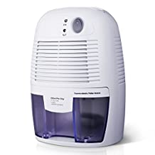 Patec 500mL Dehumidifier,[ Updated Version ] Powerful Thermo-Electric Dehumidifiers with 500mL Water Tank,Semiconductor Technology,Compact and Portable for Damp Air,Moisture for Home,Kitchen,Bedroom,Office,Wardrobe, Shoes Cabinet,BookCase,Basement,Closet, Bathroom, Washroom