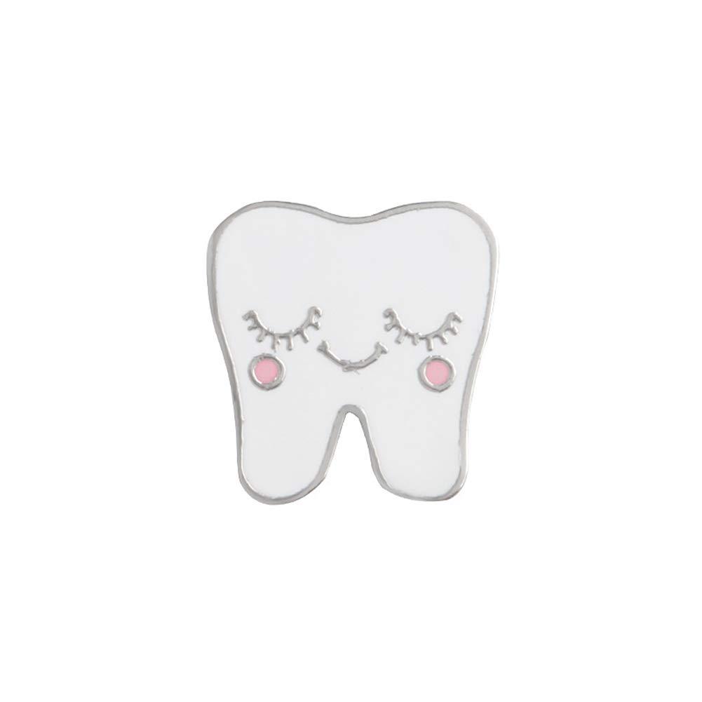 ink2055 Cute Cartoon Alloy Tooth Pattern Lapel Brooch Pin Badge for Sweater T-Shirt Dress Bags Women Men Enamel Badge Decor - White