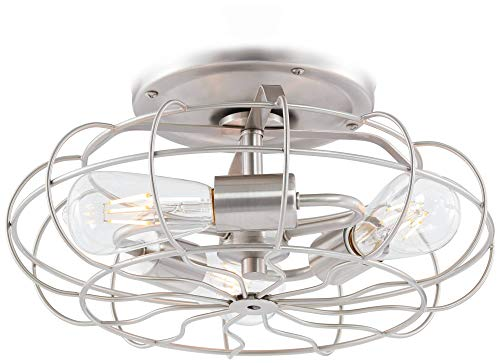 Brushed Nickel Vintage Cage LED Ceiling Fan Light Kit by Universal Lighting and Decor (Image #2)
