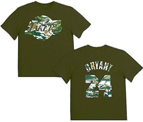 Majestic Los Angeles Lakers Kobe Bryant #24 Boys Camo T Shirt Olive Youth Sizes (L) ()
