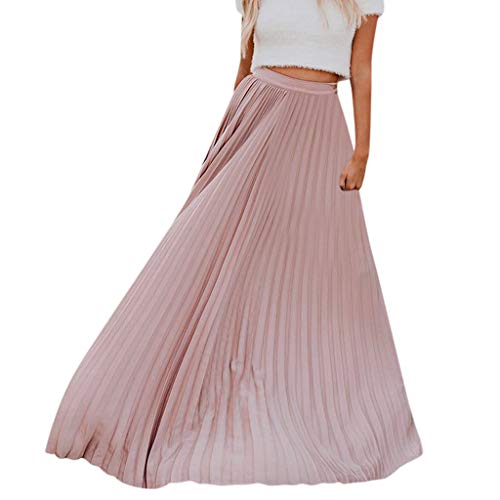 Long Skirt Women Solid Color High Waist Shirring Fashion Ankle-Length Maxi Skirt (M, Pink)