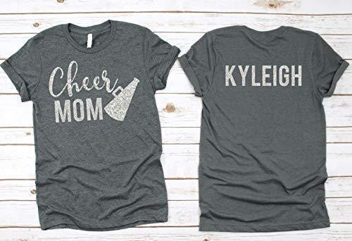 ef3053129d01 Amazon.com: Cheer Mom- Cheer Mom Shirt- Glitter Cheer Mom Shirt- Unisex  Fit: Handmade