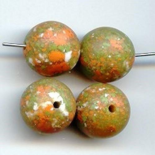 (12 Vintage Granite Green Lucite 14mm. Smooth Round Beads HDRY- 688)