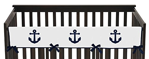 Sweet-Jojo-Designs-Navy-Blue-and-White-Nautical-Anchor-Long-Front-Rail-Guard-Baby-Teething-Cover-Crib-Protector-Wrap