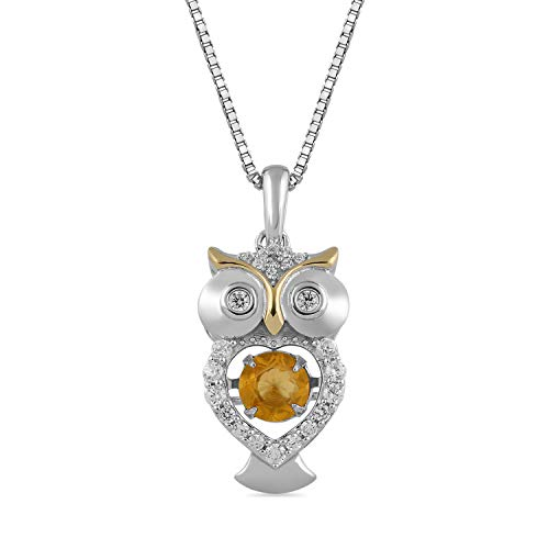 Jewelili 14kt Yellow Gold Plated Sterling Silver 5mm Citrine and Created White Sapphire Owl Pendant Necklace, 18