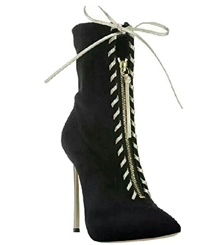 Sexy calf Toe Suede Mid TDA Dress Boots Strappy Up Party Zipper Black Gladiator Pointed Women's Lace Evening Stiletto Zqw8qE67