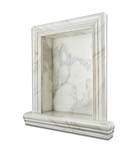 Italian Calacatta Gold Marble Hand-Made HONED Shampoo Niche / Shelf - LARGE by Oracle Tile & Stone