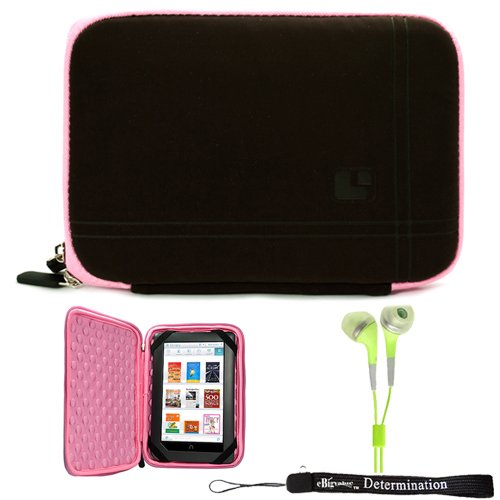 Pink Brown Sleeve Case with Bump Protection for Barnes and Noble Nook Color eBook Reader Tablet and HD Earbuds (3.5mm Jack)