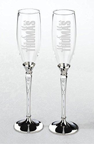Lillian Rose Toasting Glasses (Lillian Rose Retro Vintage Silver Wedding Toasting Glasses)
