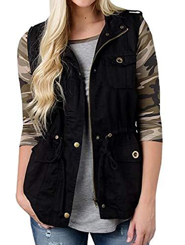 Vest Black Winter Sleeveless Outerwear H Womens Waistcoat Jacket amp;E Fall Rwn8qZT