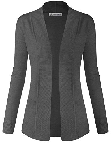 BIADANI Women Classic Soft Long Sleeve Open Front Cardigan Sweater Charcoal -