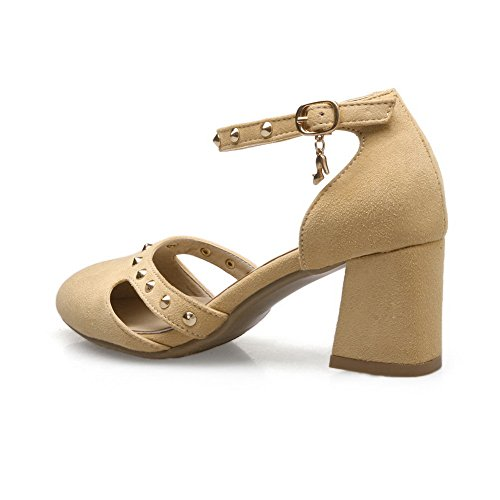 Lining SLC03942 Womens Leather Sandals AdeeSu Dress Studded Apricot Cold zdI40