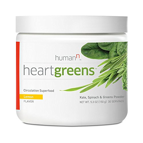 HumanN HeartGreens Circulation Superfood Kale, Spinach, and Greens Powder Nitric Oxide Boosting Supplement (Refreshing Lemon Flavor, 5.3-Ounce)