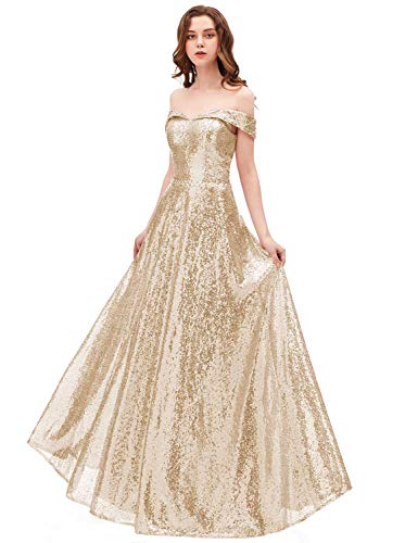 2018 Off Shoulder Sequined Prom Party Dresses for Women A Line Empire Waist Robes Formal Evening Skirts Long Elegant Gowns SHPD41 Light Gold Size 6