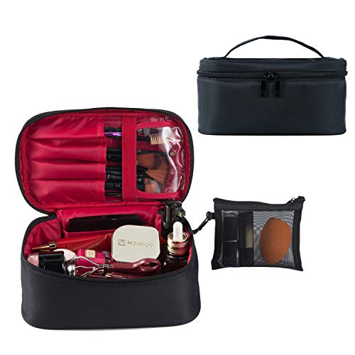Travel Makeup Bags Small Cosmetic Case Organizer for Women Black