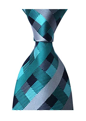 Secdtie Men Checks Blue Silver Grey Navy Jacquard Woven Silk Tie Necktie YUE16