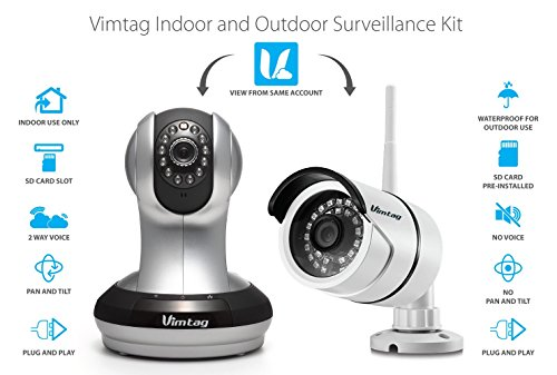 Vimtag 1 Pack Ind & Out  Kit Indoor & Outdoor Surveillance Kit (Silver & White) by VIMTAG