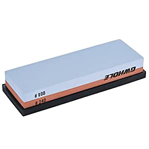 Whetstone GWHOLE Sharpening Stone with 240/800 Double-sided Corundum for Coarse Sharpening and Fine Honing Non-Slip Holder Included by GWHOLE